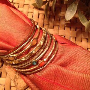 Set of 8 Gold Metal Bangle Bracelets
